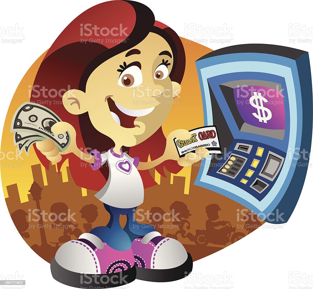 Girl at a Cash Machine royalty-free girl at a cash machine stock vector art & more images of adult