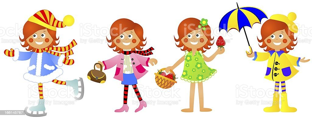 Girl at different times years royalty-free stock vector art