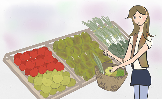 Girl buying fruit and vegetables