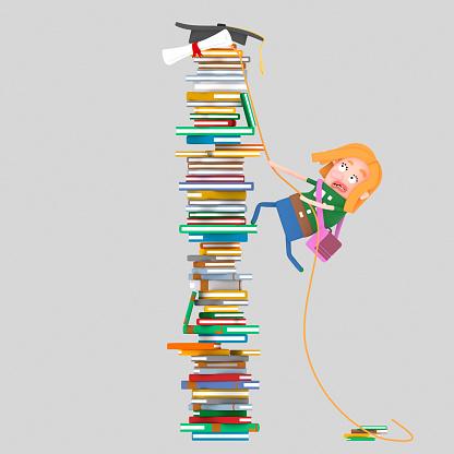 Girl climbing mountain of books