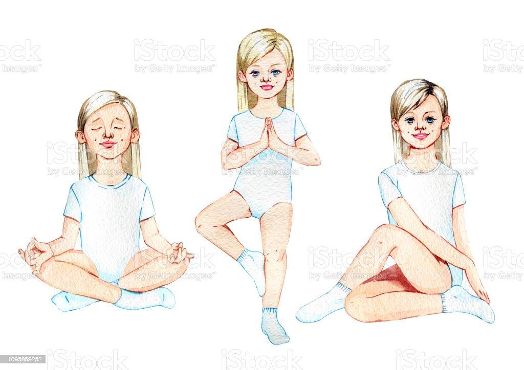 Girl doing yoga. Set of three elements vector art illustration