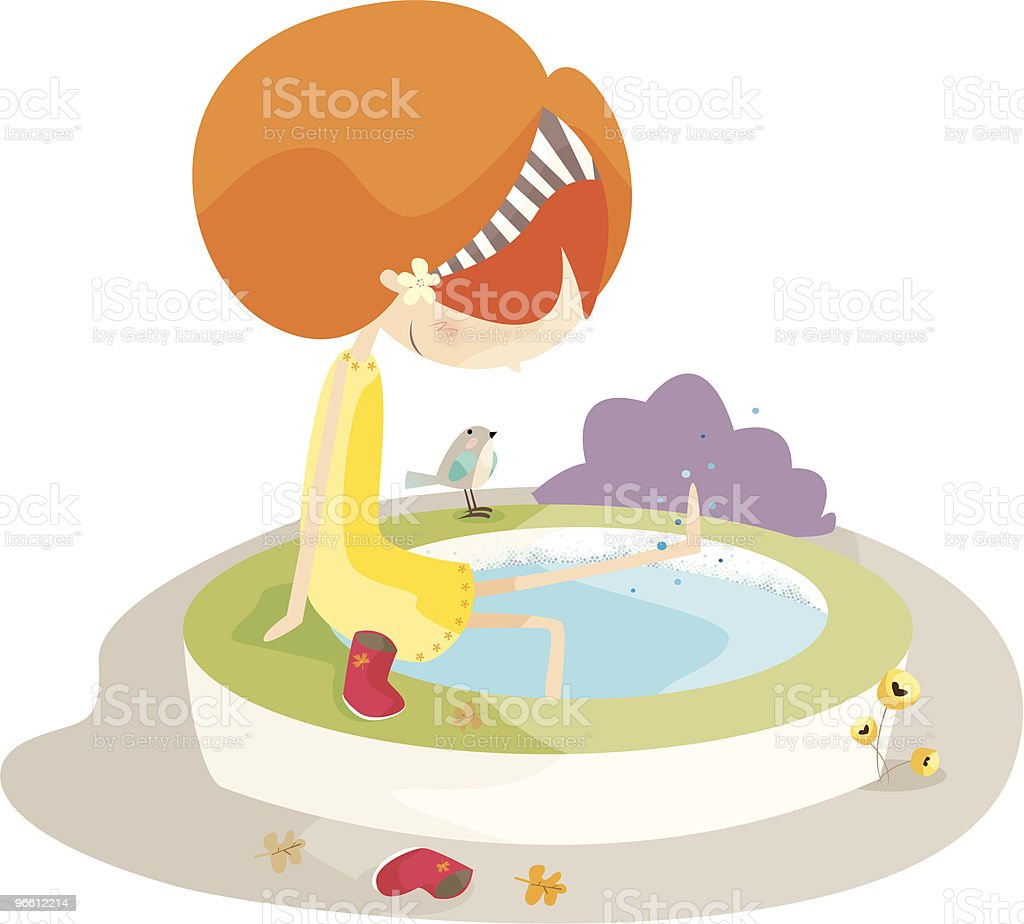 girl enjoying by pool - Royalty-free Animal stock vector