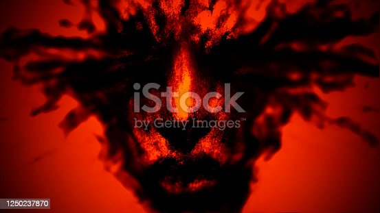 Girl face with splashes of blood from the eyes. Illustration in genre of fantasy. Orange background color.