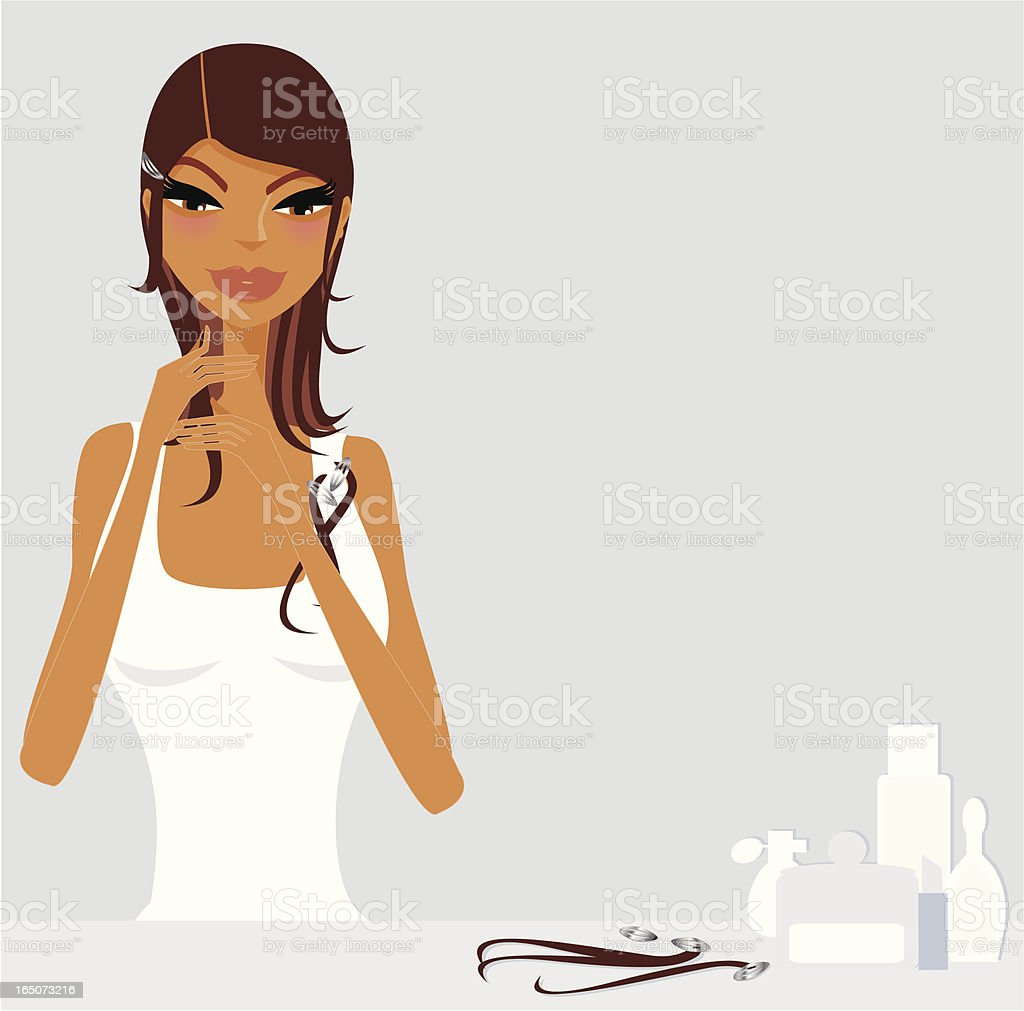Girl fitting hair extensions royalty-free stock vector art
