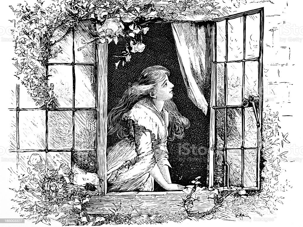 Girl Gazing Out of Window - Victorian Engraving vector art illustration