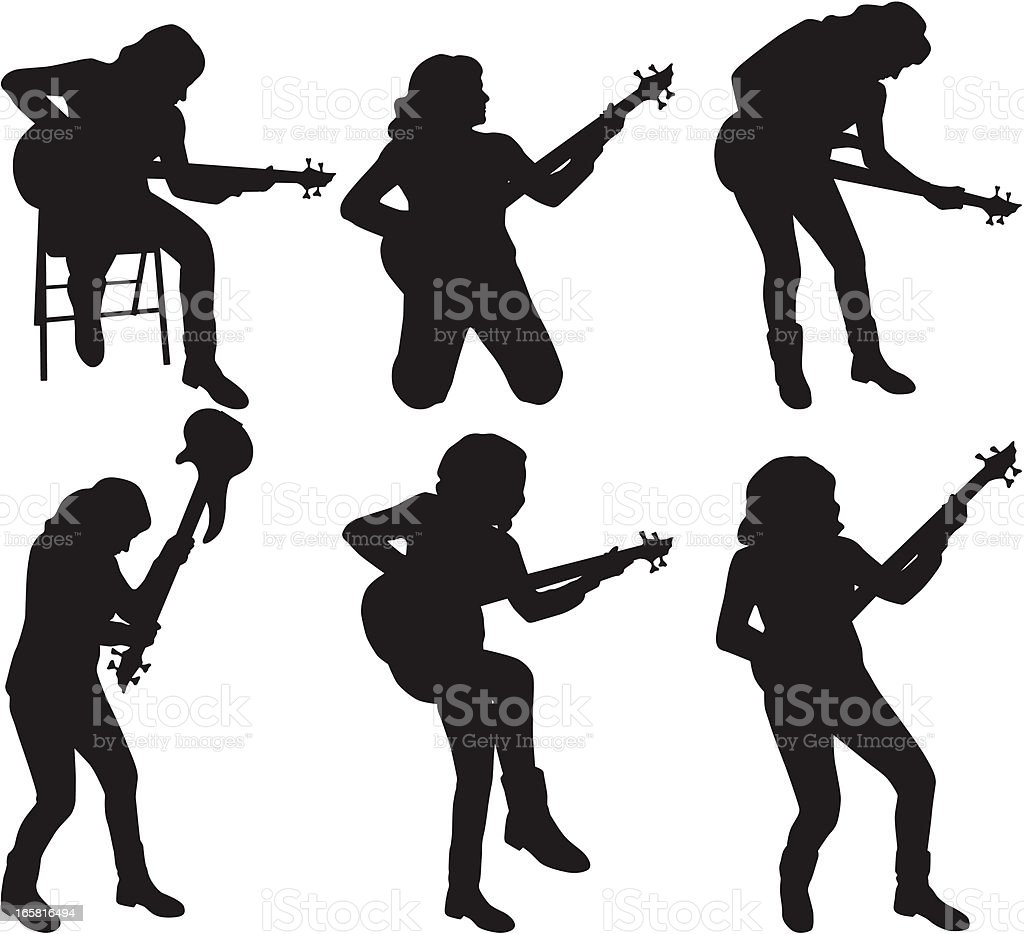girl guitarist vector art illustration