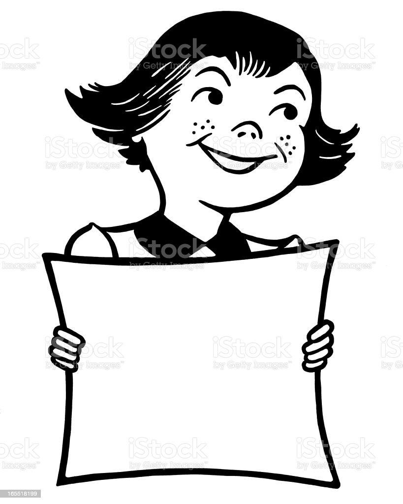 Girl Holding A Large Piece Of Paper Stock Vector Art & More Images