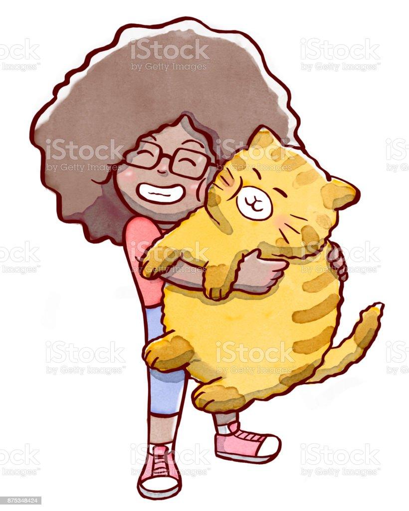 Girl hugging a fat cat vector art illustration