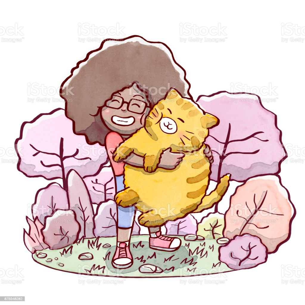 Girl hugging a fat cat with a park in background vector art illustration
