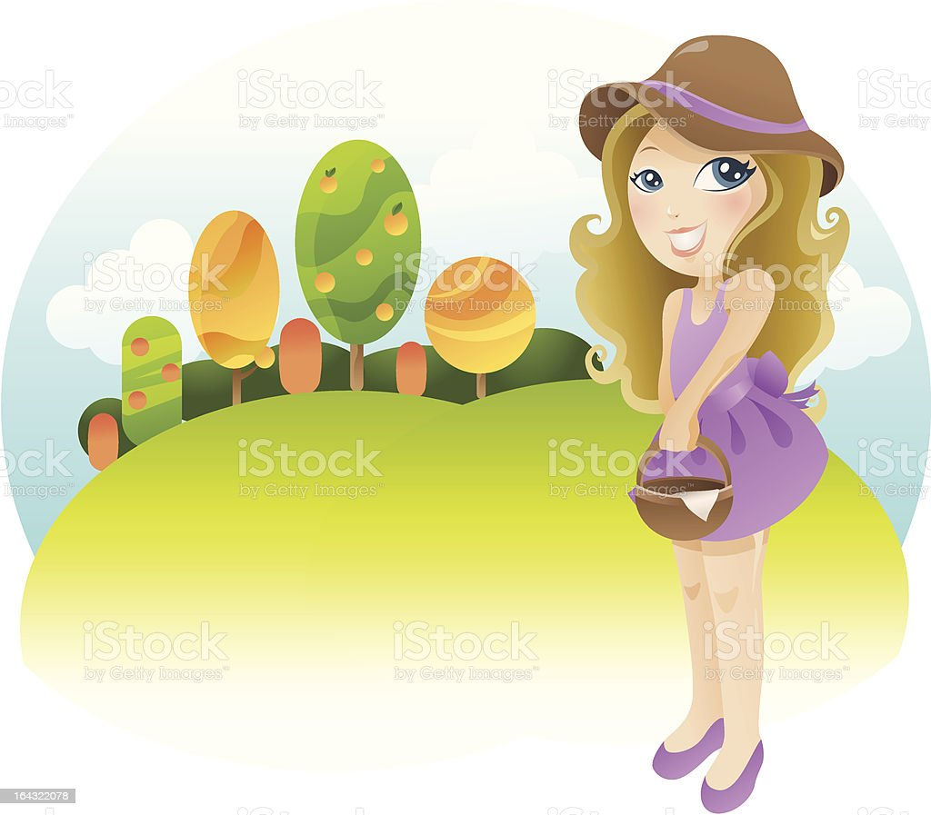 girl in a field royalty-free stock vector art