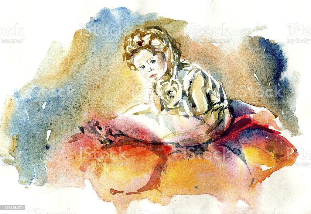 girl in a flower vector art illustration