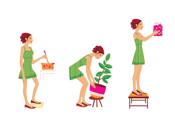 a girl in a green dress cooks soup, lifts a heavy pot in a flower, stands on a chair, removes the jar from the shelf - busy restaurant kitchen stock illustrations