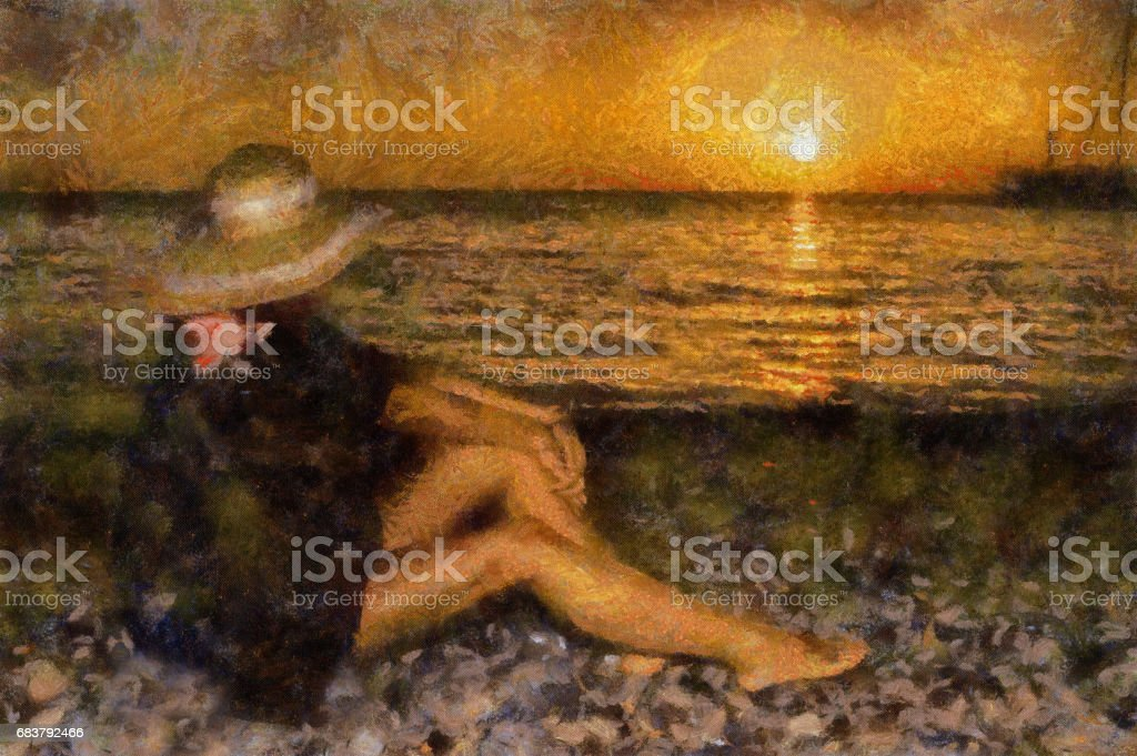 A girl in a hat with beautiful slender long legs watching the sunset on the sea. Human and nature. vector art illustration