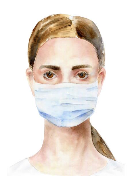 illustrazioni stock, clip art, cartoni animati e icone di tendenza di girl in a medical mask. watercolor illustration - mika
