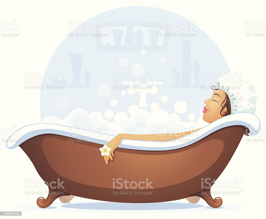 girl in bath vector art illustration