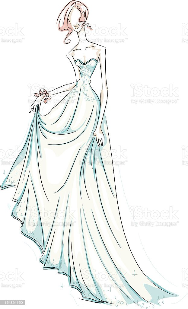 Girl in Gown vector art illustration