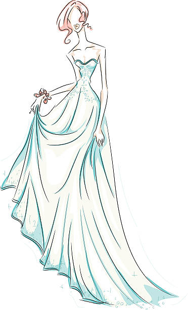 girl in gown - prom fashion stock illustrations, clip art, cartoons, & icons