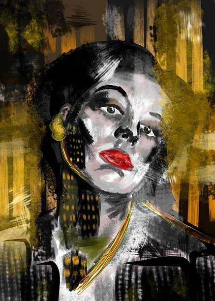 Girl in modern city. Urban woman. Night scene, skyscrapers vector art illustration