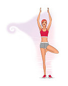A girl in sports clothes is standing on one leg, with arms outstretched