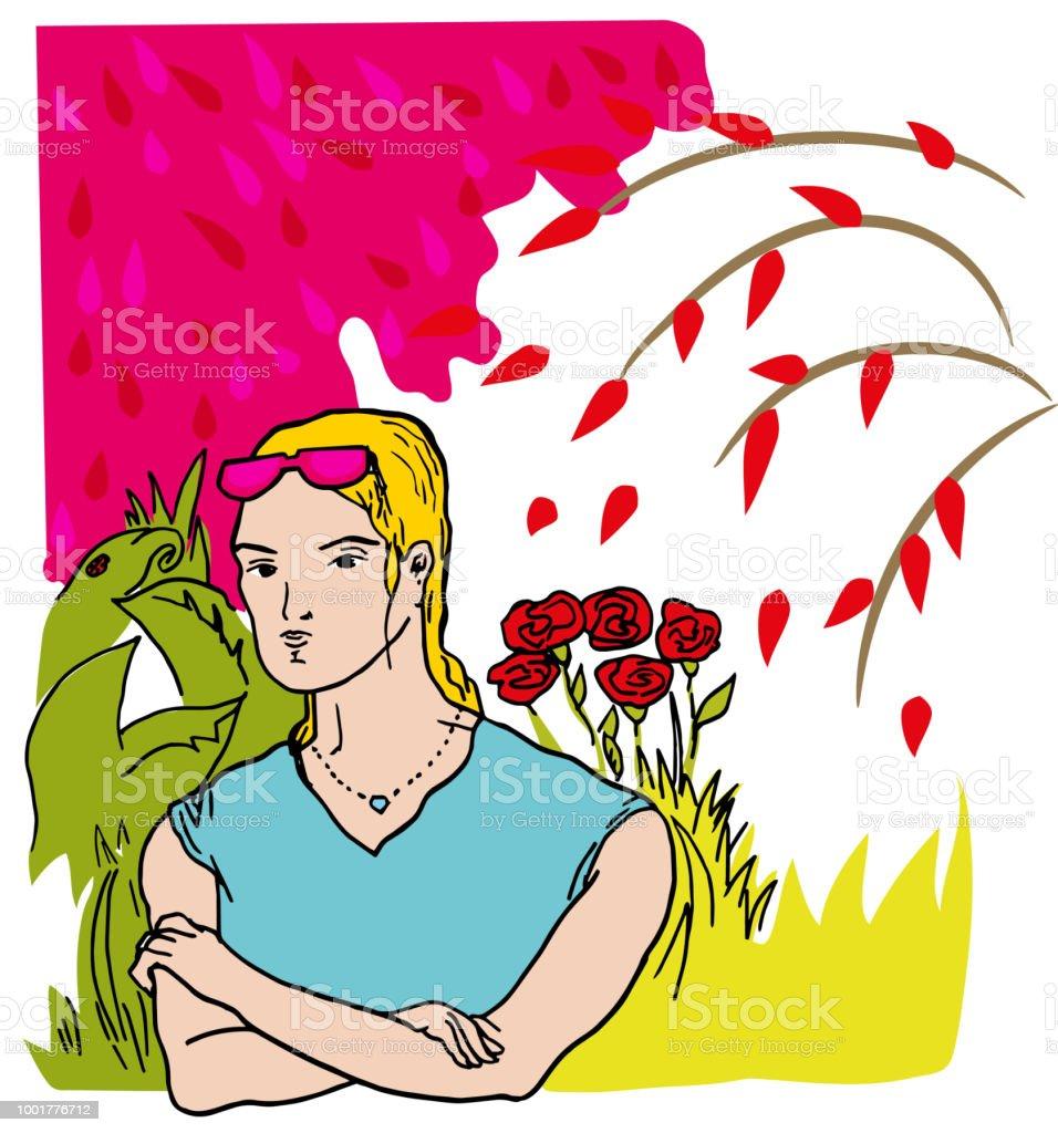 Bahçedeki kız. vektör sanat illüstrasyonu