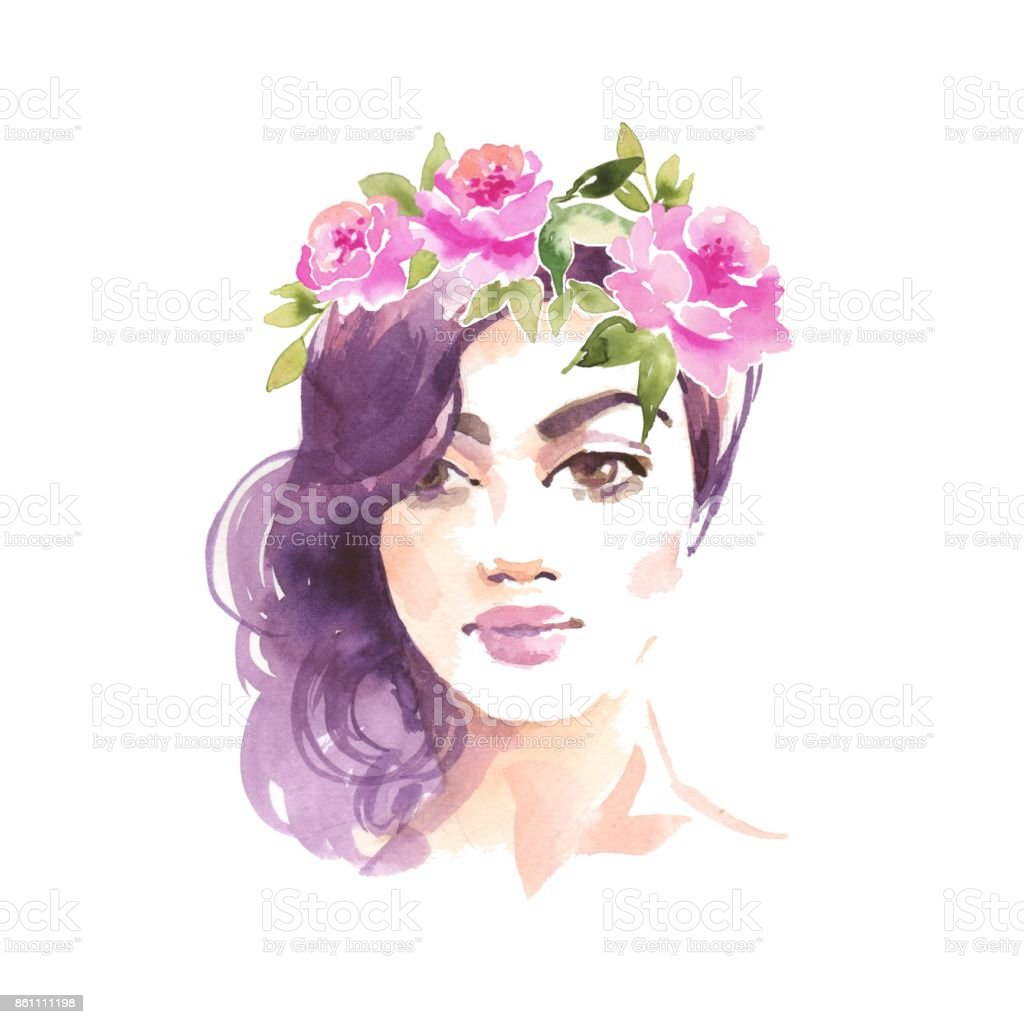 Girl in wreath. Female face, watercolor painting vector art illustration