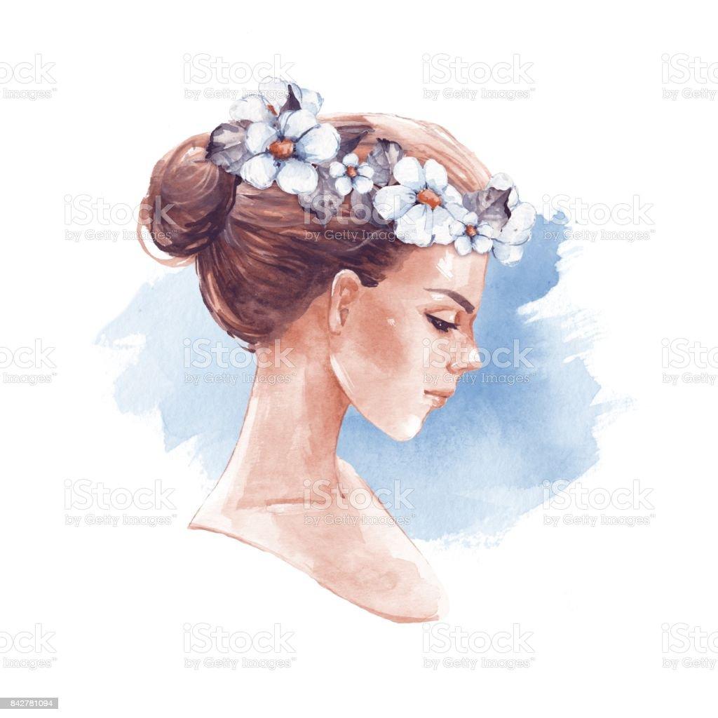 Girl in wreath. Romantic watercolor illustration vector art illustration
