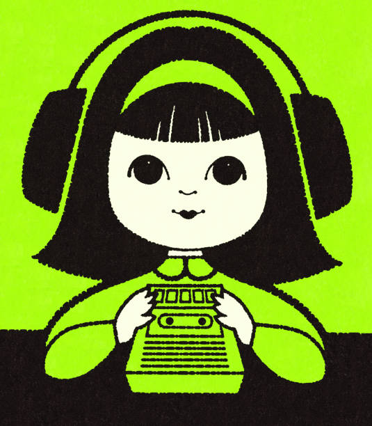 ilustrações de stock, clip art, desenhos animados e ícones de girl listening to a tape recorder - tape face