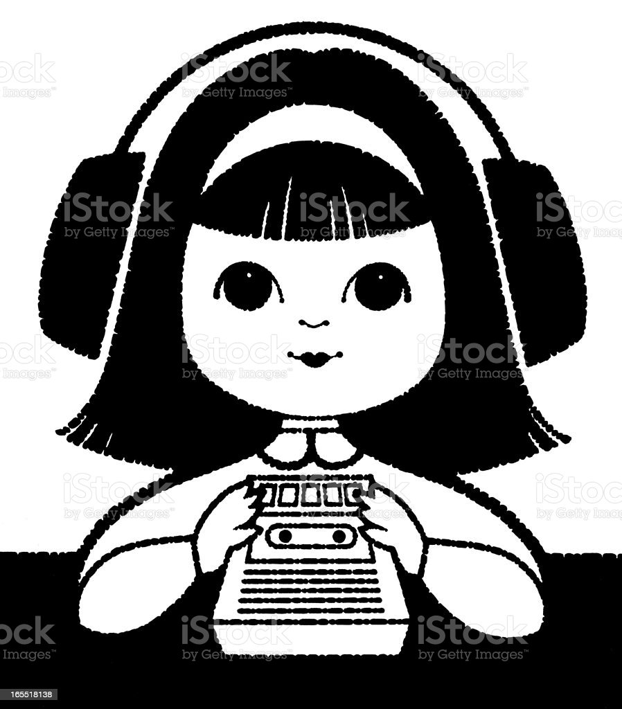 Girl Listening to a Tape Recorder royalty-free stock vector art