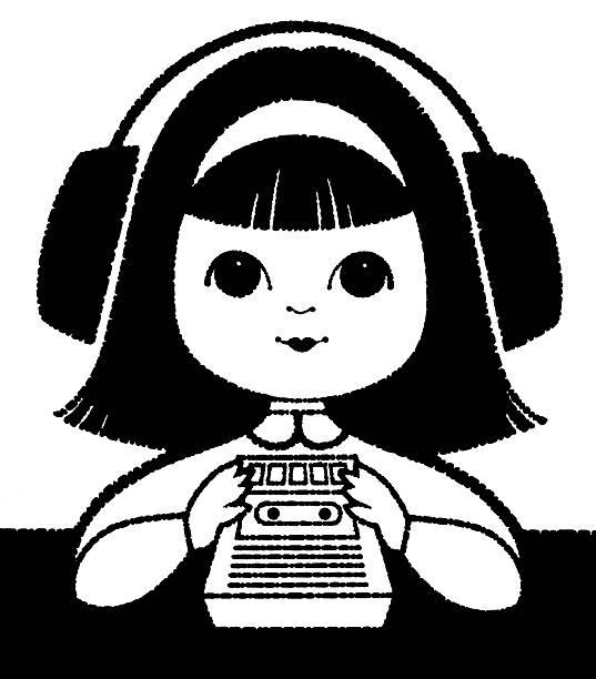 ilustrações de stock, clip art, desenhos animados e ícones de menina ouvindo um gravador de cassetes - tape face