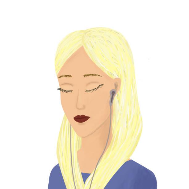 illustrazioni stock, clip art, cartoni animati e icone di tendenza di girl listening to music on headphones. stock illustration. - deadly sings