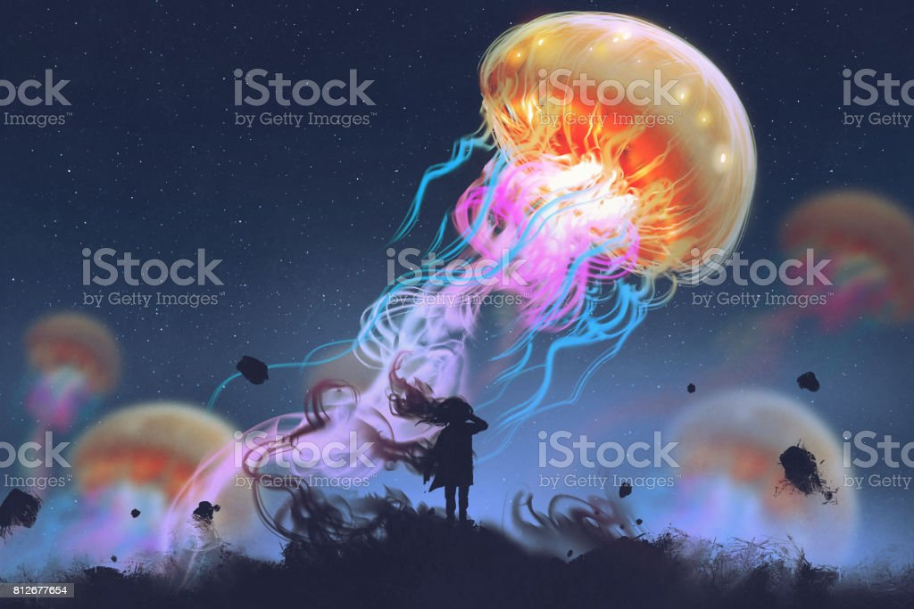 girl looking at giant jellyfish floating in the sky vector art illustration