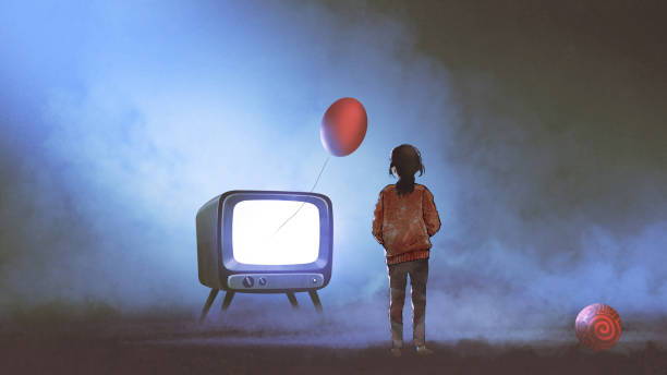 girl looking at red balloon coming out of TV vector art illustration