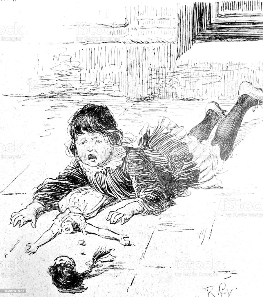 Girl lying on the floor crying with a broken doll stock