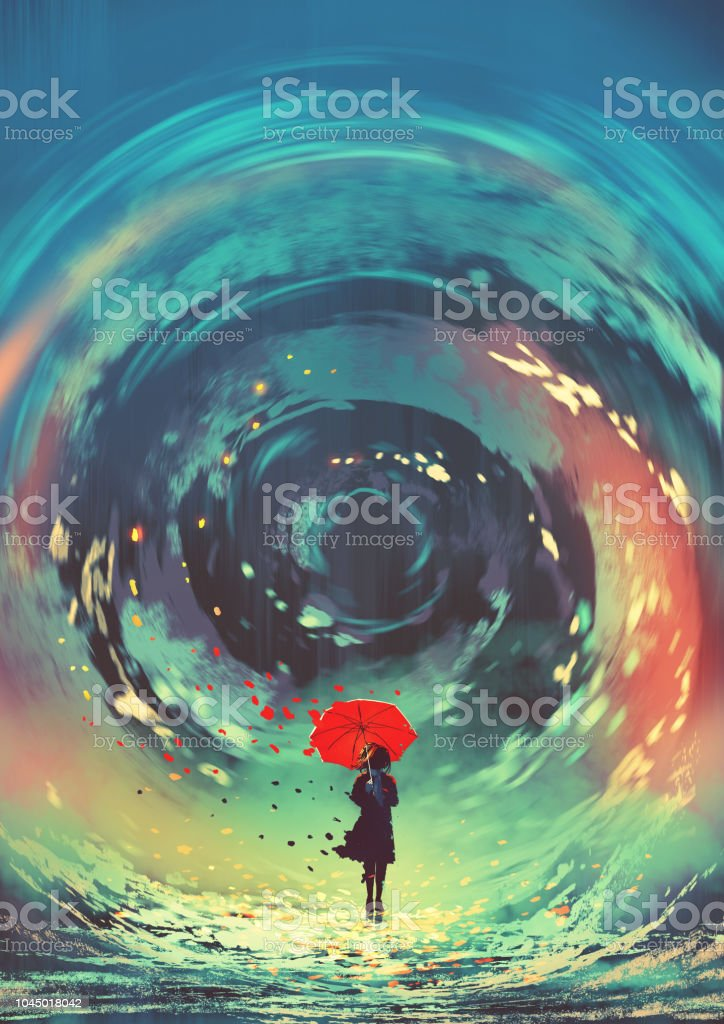 girl makes a swirling water with magic vector art illustration