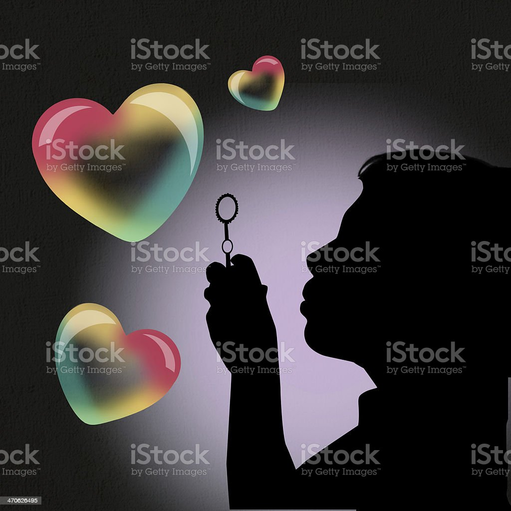 girl makes soap bubbles in heart shape royalty-free girl makes soap bubbles in heart shape stock vector art & more images of bubble wand