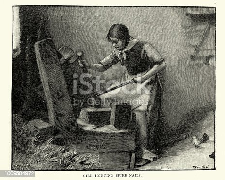 Vintage engraving of a Girl making spike nails in a victorian factory, 19th Century