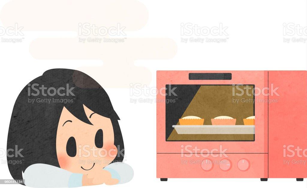 お菓子を作る女の子 イラストレーションのベクターアート素材や画像を