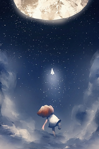 girl on a cloud throwing paper airplane to the moon