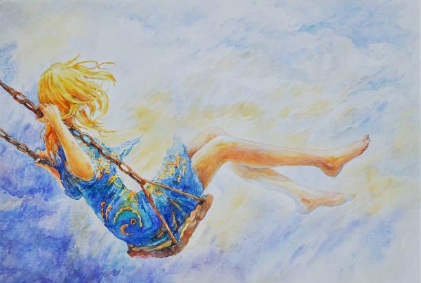 ilustrações de stock, clip art, desenhos animados e ícones de girl on a swing - balouço
