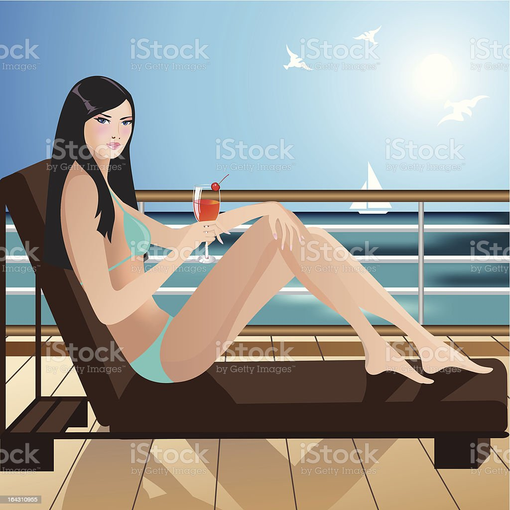 Girl on board of a yacht vector art illustration