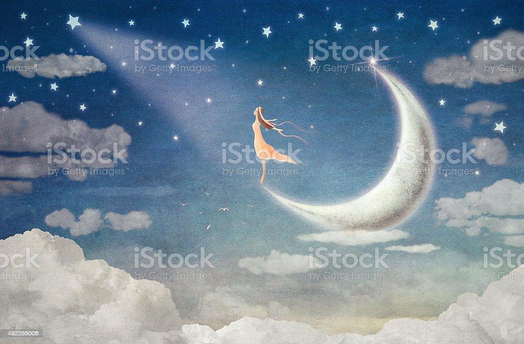 Girl on moon  admires  the night sky vector art illustration