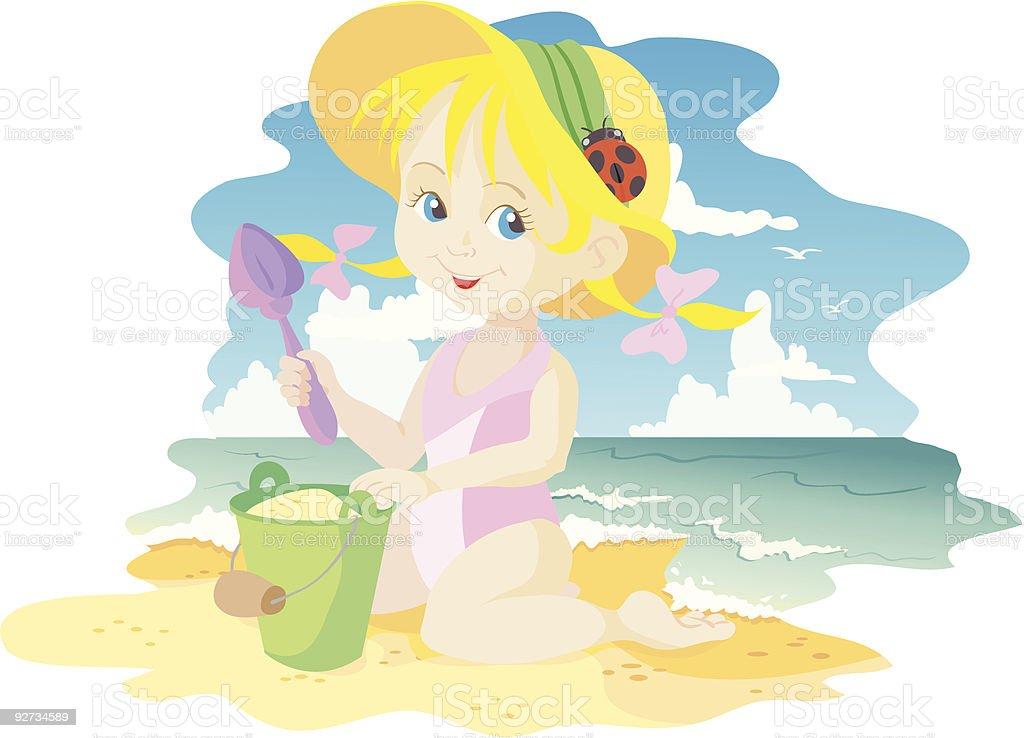Mädchen am Strand Lizenzfreies mädchen am strand stock vektor art und mehr bilder von abwaschen