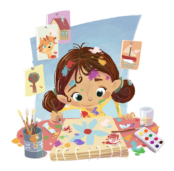 girl painting pictures This image is of a girl painting some pretty frames, this illustration is fully made computer and I am the author of the work. tempera painting stock illustrations