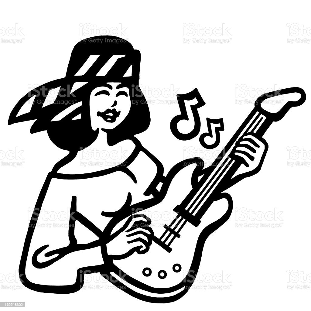 Girl Playing a Guitar royalty-free stock vector art