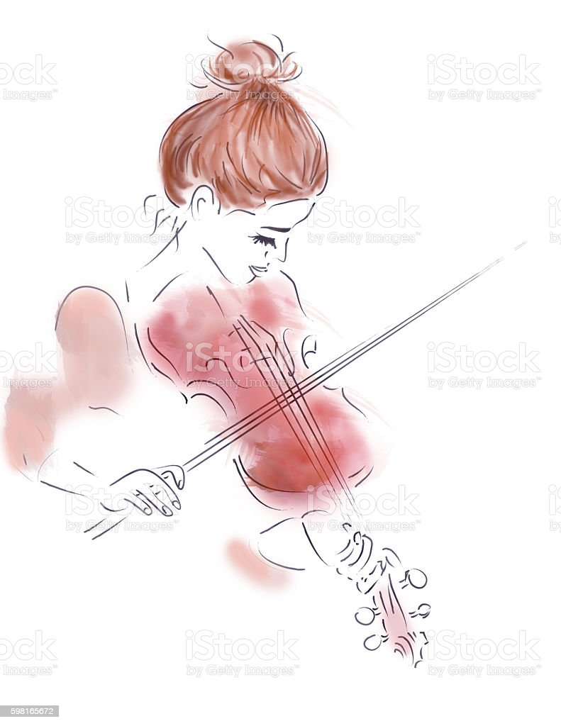 Girl Playing a Violin vector art illustration