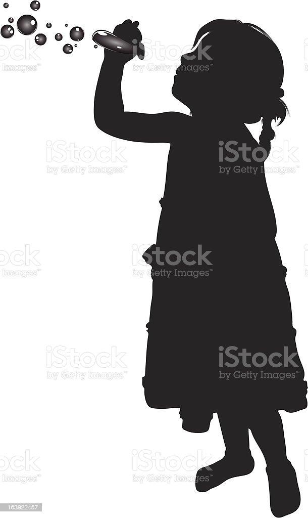 girl playing soap vector art illustration