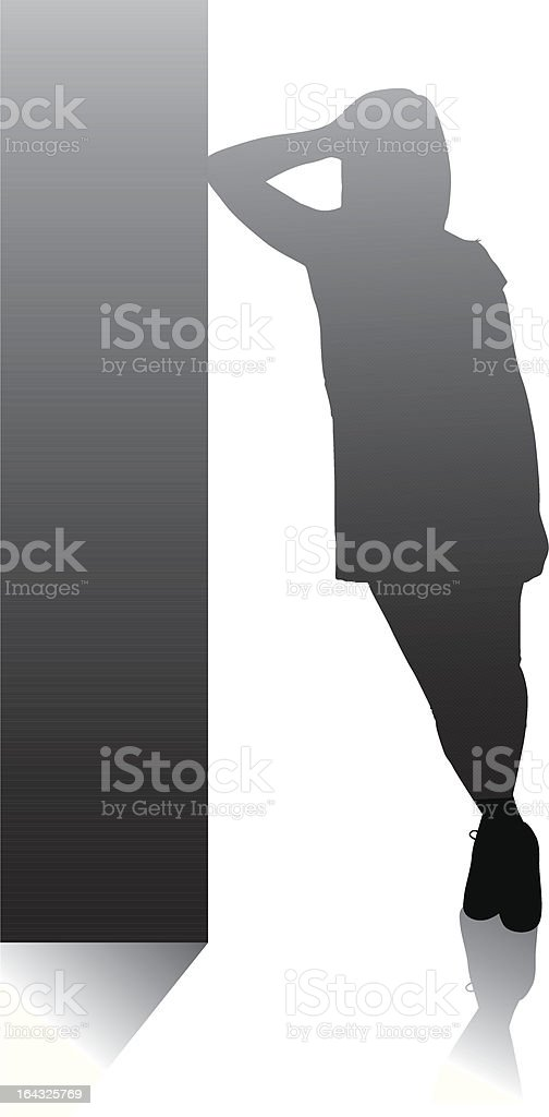 Mädchen posieren Lehnend auf einer Wand mit Reflexion – Vektorgrafik