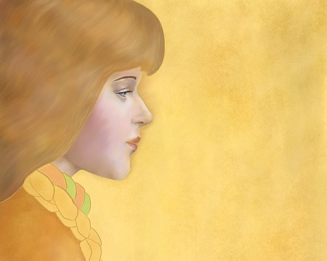 Girl profile on a gold horizontal background