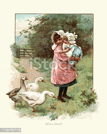 Vintage engraving of Girl protecting her little sister from flock of geese, 19th Century
