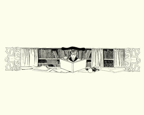 Girl reading a book in a library, 19th Century vector art illustration